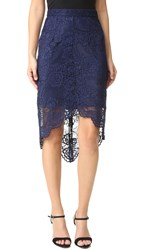 Wayf High Low Lace Skirt Navy
