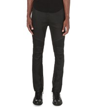 Balmain Waxed Slim Fit Skinny Stretch Denim Jogging Bottoms Black