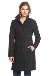 Via Spiga Wool Blend Coat With Faux Leather Trim Black