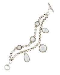 Konstantino Aura Crystal And Mother Of Pearl Double Strand Bracelet White