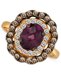 Le Vian Rhodolite Garnet 1 3 4 Ct.T.W. Smoky Quartz 3 8 Ct.T.W. And And White Sapphire 3 4 Ct. T.W. Ring In 14K Rose Gold Red