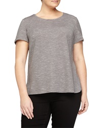 Lafayette 148 New York Striped Scoop Neck Tee Truffle Multi