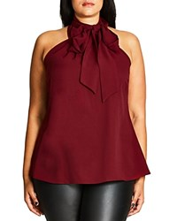 City Chic Sleeveless Tie Neck Blouse Ruby