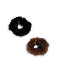 Surell Mink Fur Hair Accessory Set Of 2 Brown Black