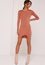 Missguided Asymmetric Hem Long Sleeve Jersey Dress Brown Brown