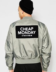 Cheap Monday Bomber Jacket Rank Nylon Patch Back Logo In Green Green