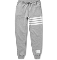 Thom Browne Striped Cotton Jersey Sweatpants Gray