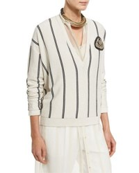 Brunello Cucinelli Striped Cashmere V Neck Cardigan Multi Onyx