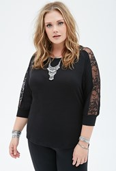 Forever 21 Plus Size Lace Paneled Slub Knit Dolman Top