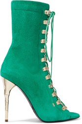 Balmain Lace Up Suede Sandals Green