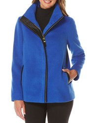 Rafaella Petite Petite Plush Faux Leather Trim Jacket Sapphire