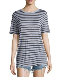Alexander Wang Short Sleeve Striped Jersey Tee Lavender Charcoal Lavender Charcoal