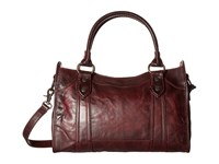 Frye Melissa Satchel Wine Antique Pull Up Satchel Handbags Brown