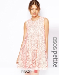 Asos Petite Exclusive Neon Lace Swing Dress Neonlace