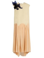 Delpozo Floral Brooch Sleeveless Crepe Dress Cream