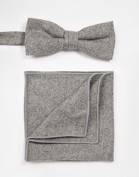 Minimum Tie And Pocket Square Grey