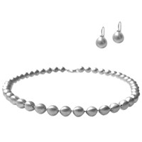 Chen Fuchs Jewelry Silver Ball Necklace And Earrings Set