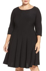 Gabby Skye Plus Size Women's Pintuck Knit Fit And Flare Dress