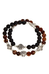Jean Claude Dzi Bead And Lava Bead Assorted Charm Stretch Bracelet Multi