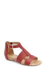 Women's Naturalizer 'Longing' Flat Sandal Red Leather