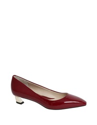 Carolinna Espinosa Bonnie Leather Kitten Heel Pumps Red Patent Leather