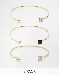 Lipsy Jet And Gold Cuff Bracelet Multipack