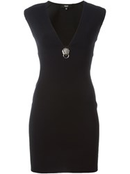 Versus Deep V Neck Fitted Dress Black