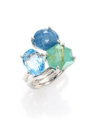 Ippolita Rock Candy Rutilated Turquoise Aquamarine Blue Topaz And Sterling Silver Ring
