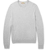 Burberry Elbow Patch Cashmere And Cotton Blend Sweater Light Gray