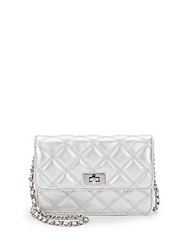 Saks Fifth Avenue Sissy Quilted Metallic Leather Bag Silver