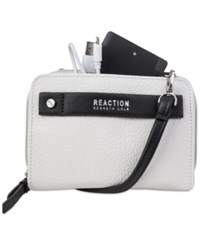 Kenneth Cole Reaction Strap Wallet With Battery Charger Vanilla Black