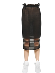 Aviu Sheer Inserts And Cotton Knit Pencil Skirt Black