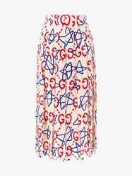 Gucci Ghost Star And Logo Printed Silk Skirt White Multi Coloured Blue