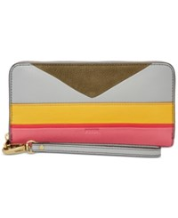 Fossil Emma Printed Leather Large Zip Clutch Wallet Stripe Multi