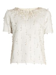 Ashish Sequin Embellished Short Sleeved Cotton Top White