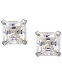 Macy's Cubic Zirconia Square Stud Earrings In 14K Gold White Gold