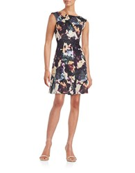 Gabby Skye Floral Pleated Dress Black Purple