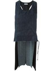 Tim Coppens Raw Edge Contrast Back Pleated Inset Tank Top Blue