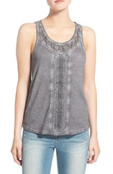 Hinge Women's Lace And Rib Knit Tank Grey Forged