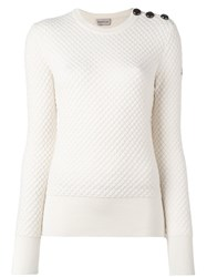Moncler Quilted Long Sleeve Sweater White