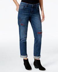 Styleandco. Style Co. Petite Patchwork Path Wash Boyfriend Jeans Only At Macy's Path Blue