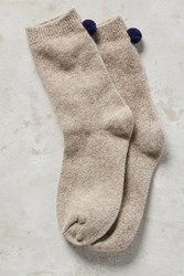 Anthropologie Pom Pom Socks Taupe