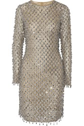 Michael Kors Collection Embellished Tulle Mini Dress Silver