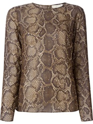 Michael Michael Kors Studded Snakeskin Print Blouse Nude And Neutrals