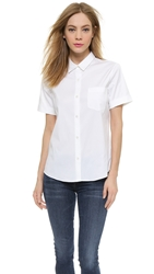 Theory Luxe Uniform Button Down Blouse White