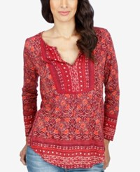 Lucky Brand Mixed Print Peasant Top Red Multi