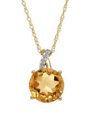 Lord And Taylor Citrine Diamond 14K Yellow Gold Pendant Necklace Orange