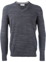 Brunello Cucinelli V Neck Jumper Grey