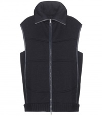 M. Patmos Leather Trimmed Wool Vest Blue