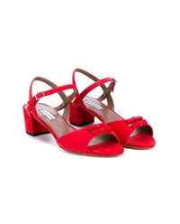 Tabitha Simmons Bonnie Suede Bow Sandals Red